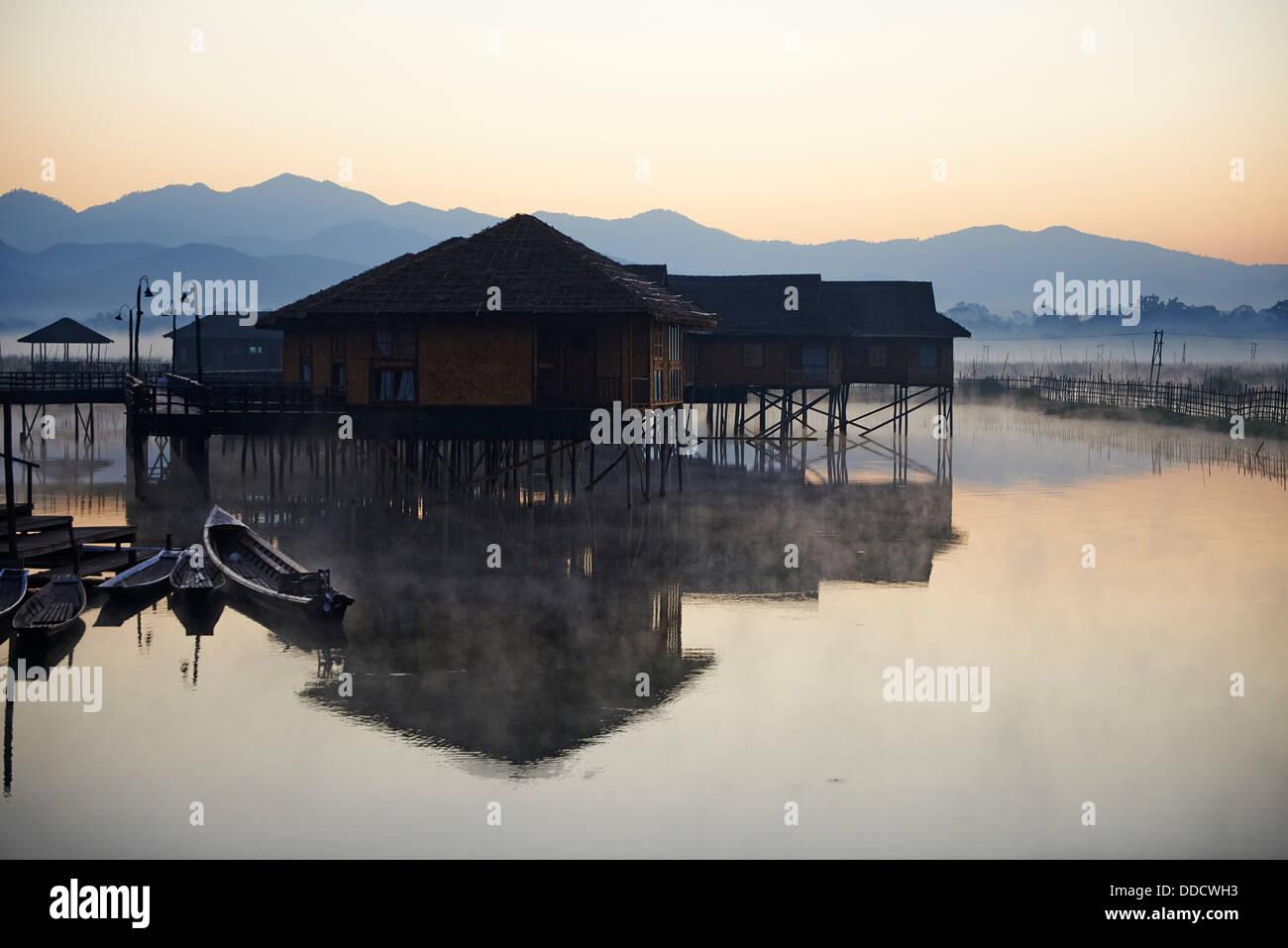 Myanmar (Burma), Shan province, Inle lake, Nampan village - Stock Image