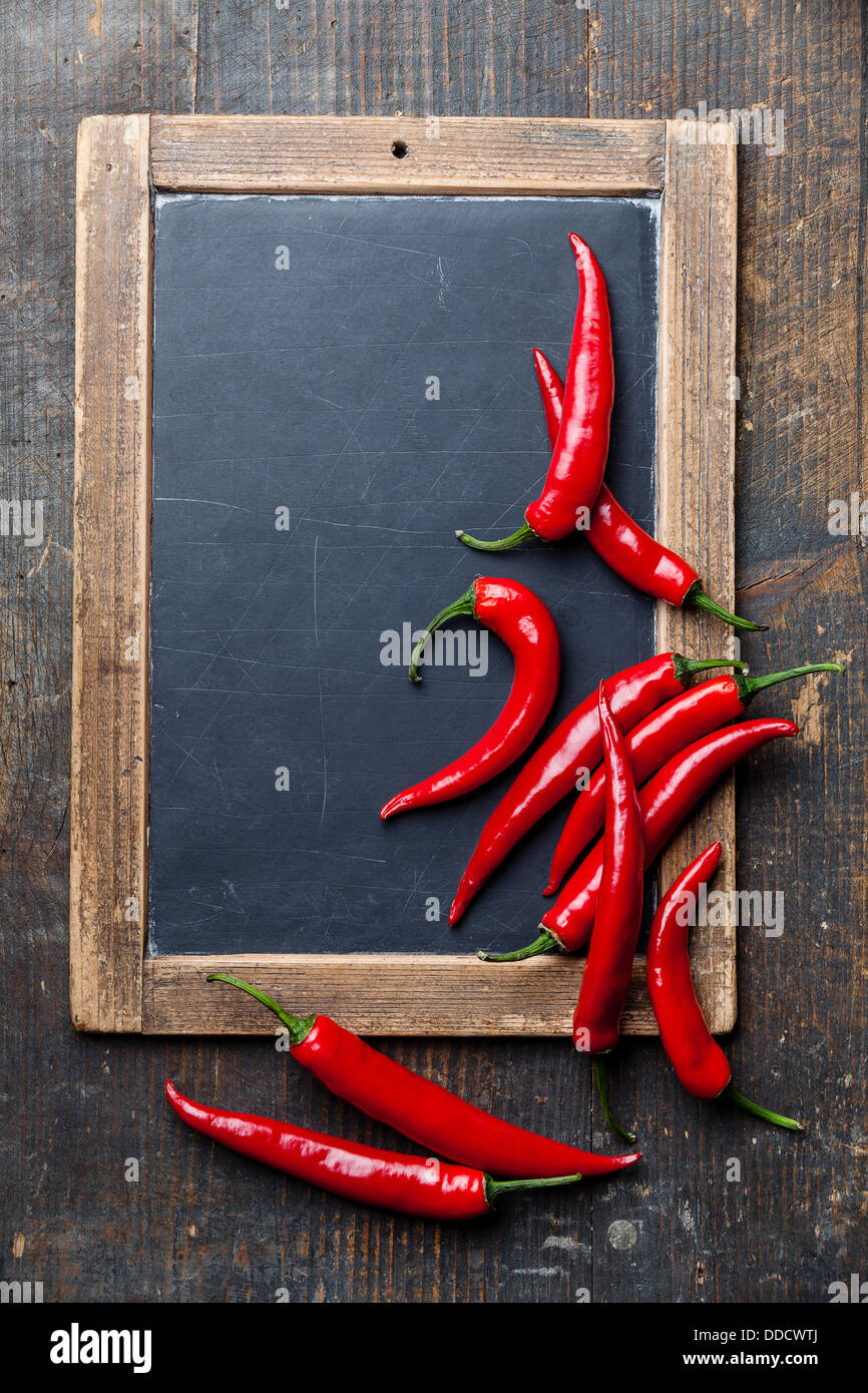 Red Hot Chili Peppers on vintage slate chalk board - Stock Image