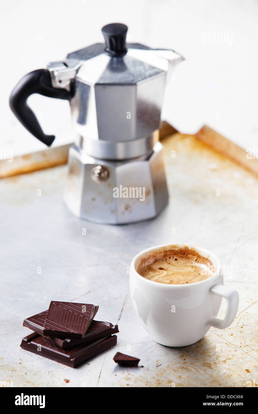 Espresso cup with chocolate - Stock Image