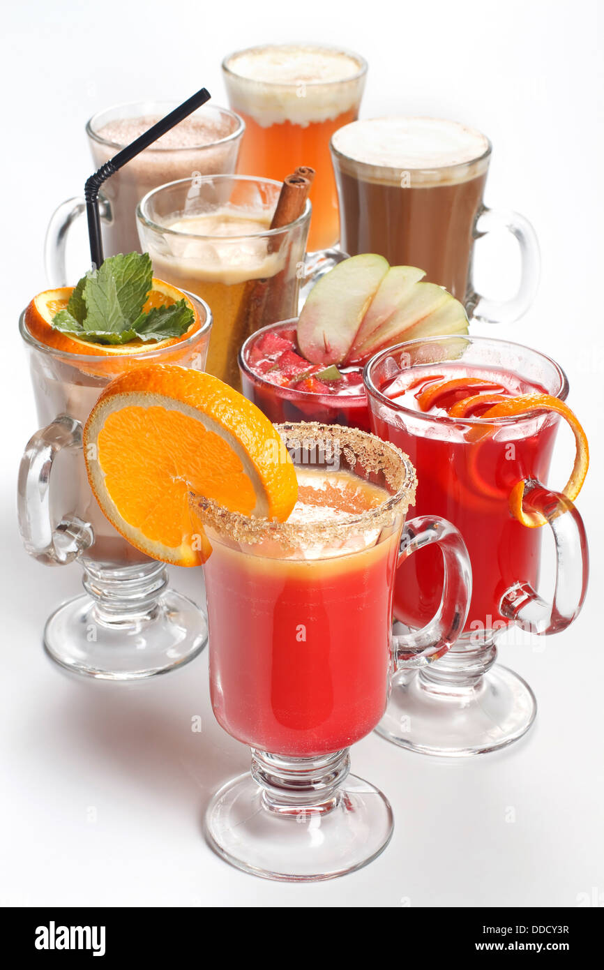 Assortment of different drinks on white background - Stock Image