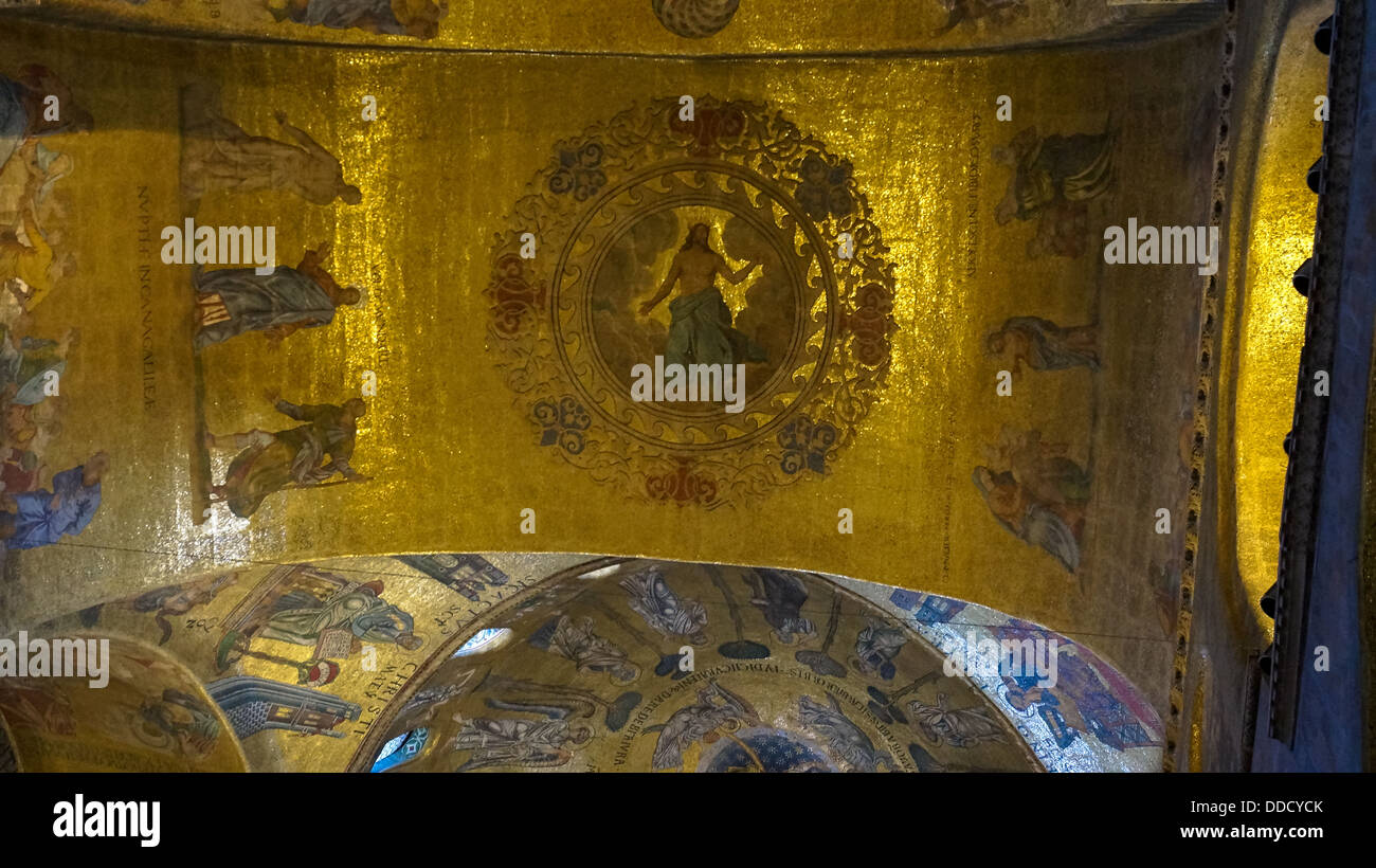 Religious mosaic painting on the dome of St. Marco Church internal, Venice Italy - Stock Image
