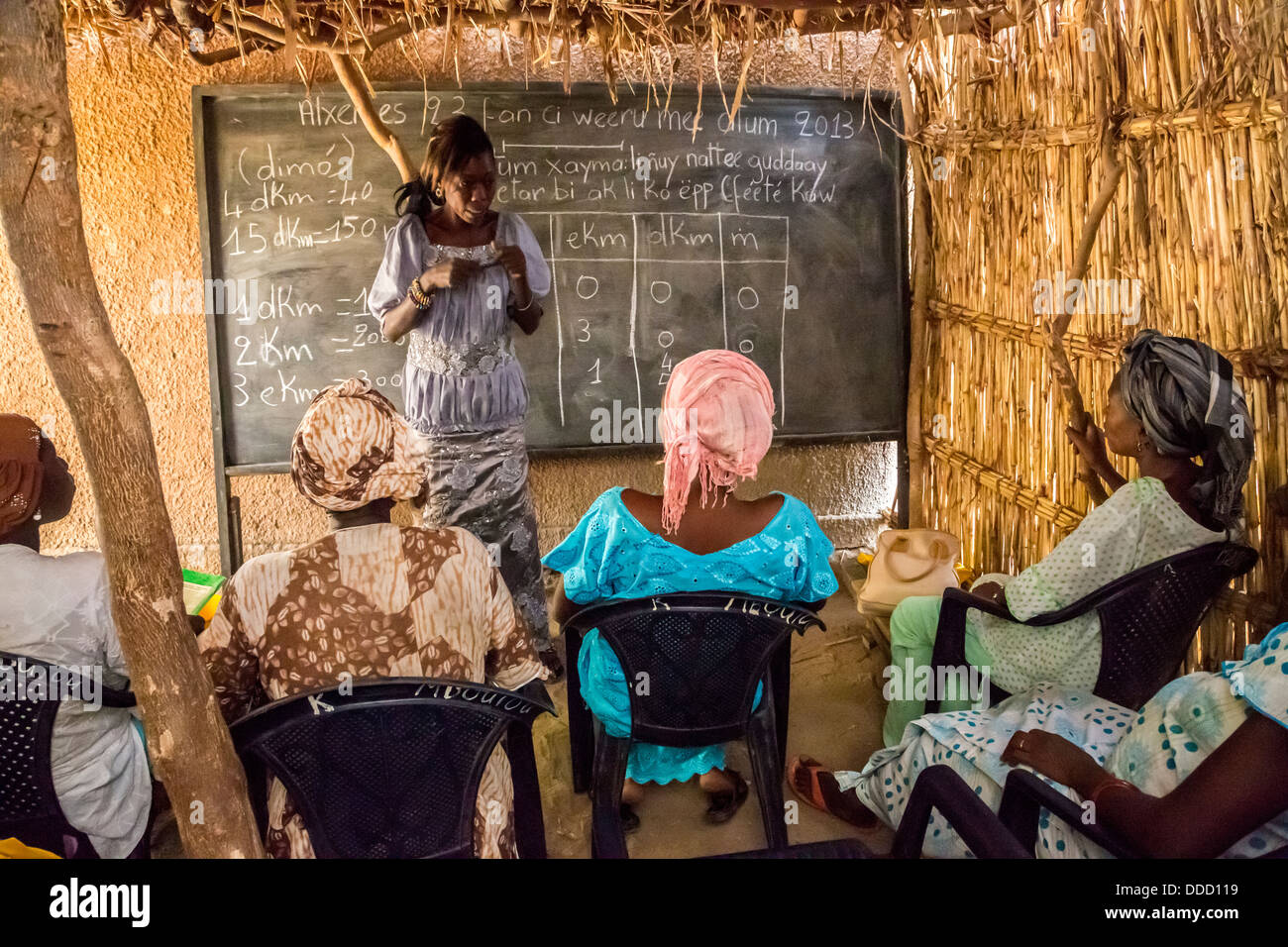 Adult Literacy Class, Santhiou Mboutou Village, Senegal. An Africare Program. - Stock Image