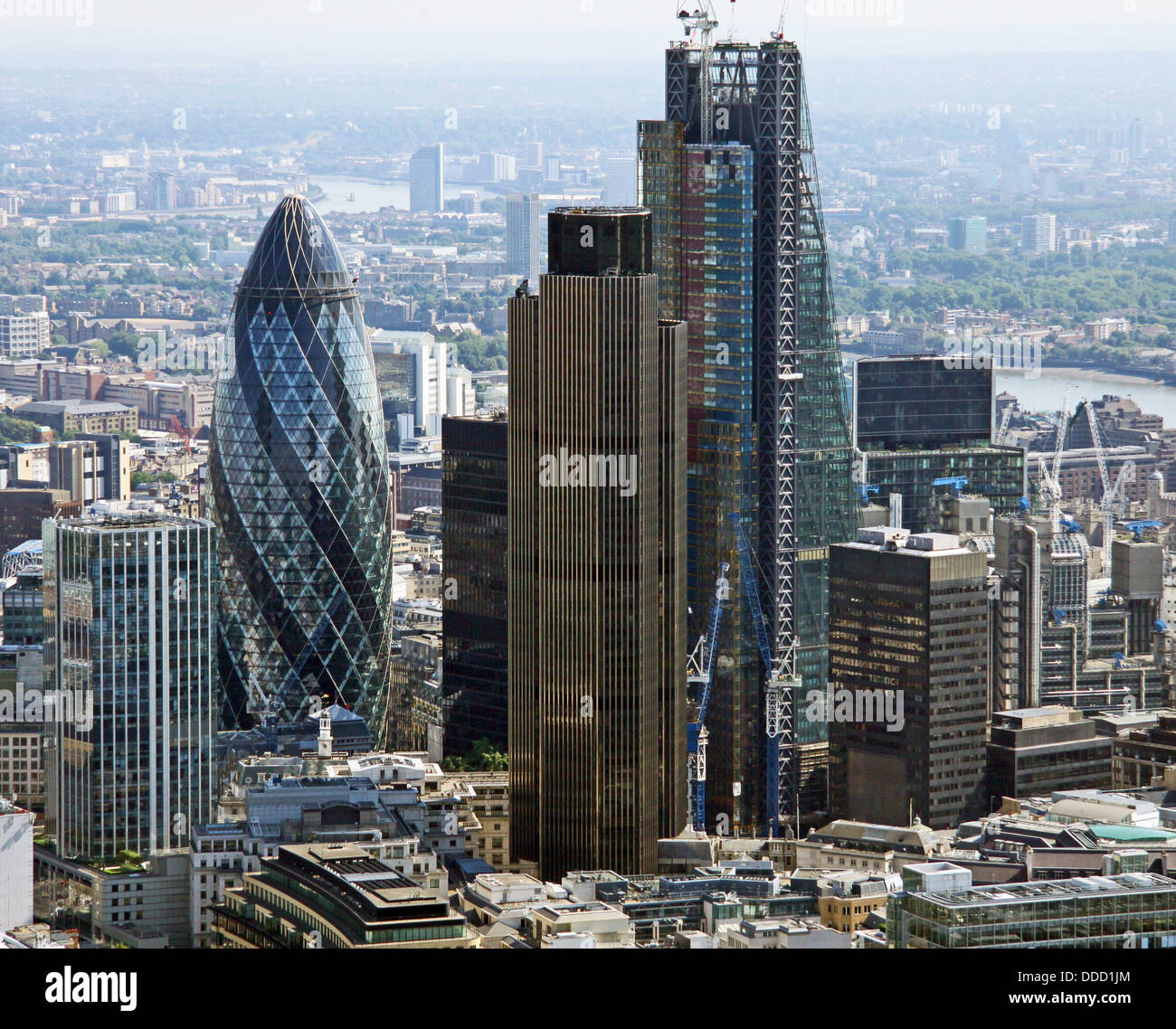 aerial view of the City of London including the Gherkin, Cheese Grater and NatWest building - Stock Image