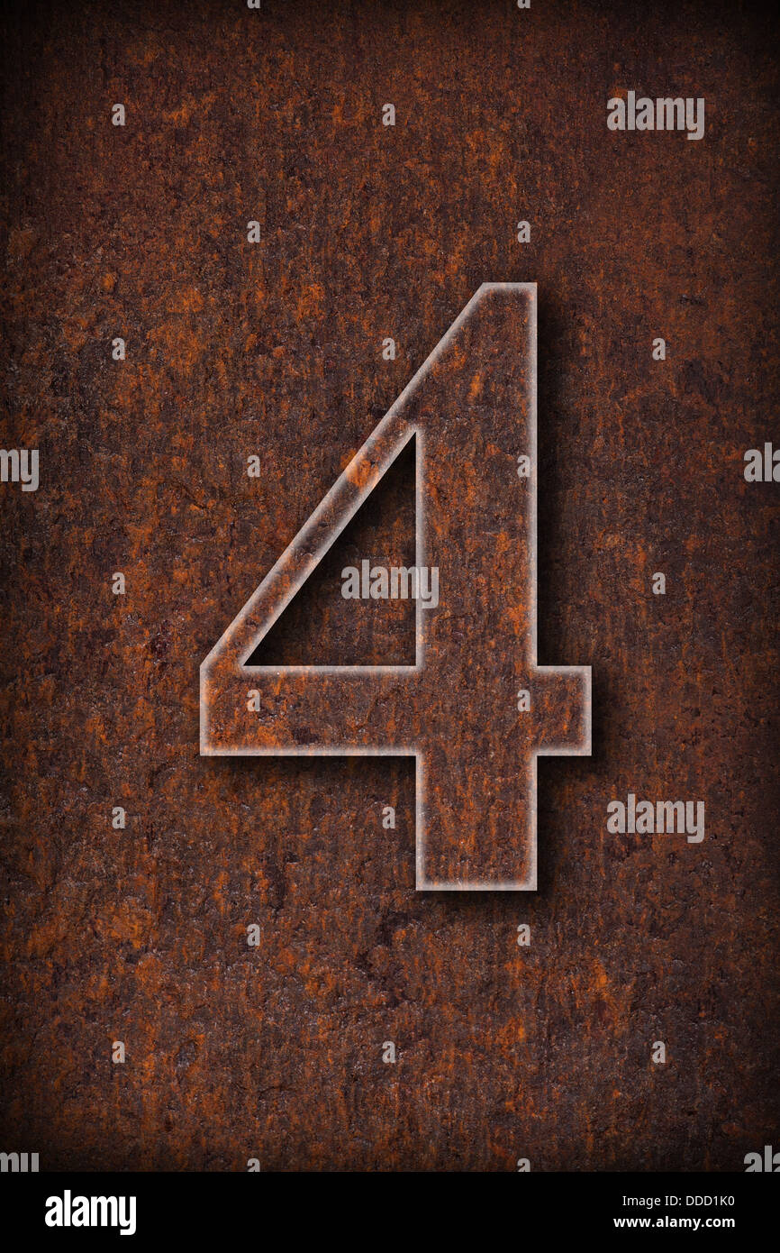number four on rusty iron brown background - Stock Image