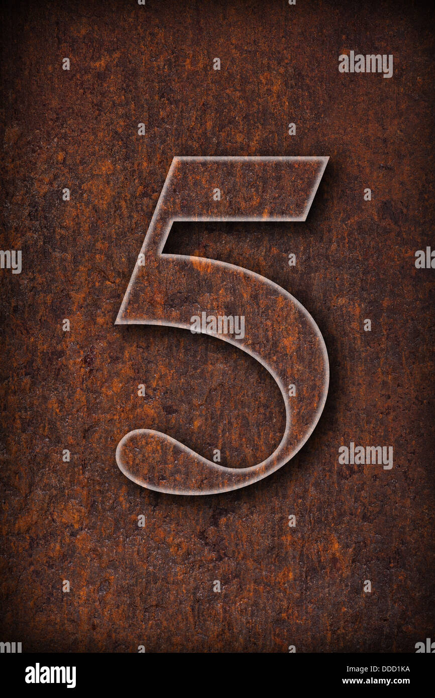 number five on rusty iron brown background - Stock Image