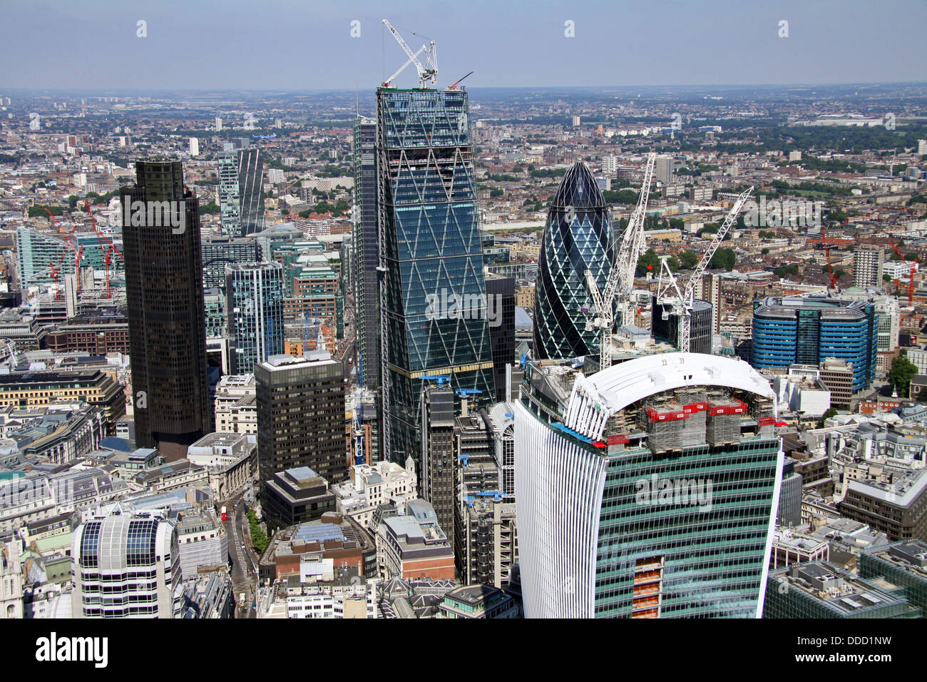 aerial view of the City of London including the Gherkin, Cheese Grater, Walkie-Talkie & NatWest building - Stock Image