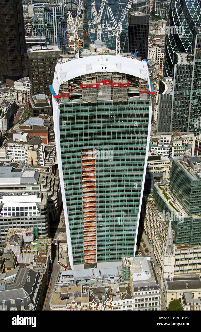 aerial view of The Walkie-Talkie building in the City of London, also know as The Pint because of its shape - Stock Image