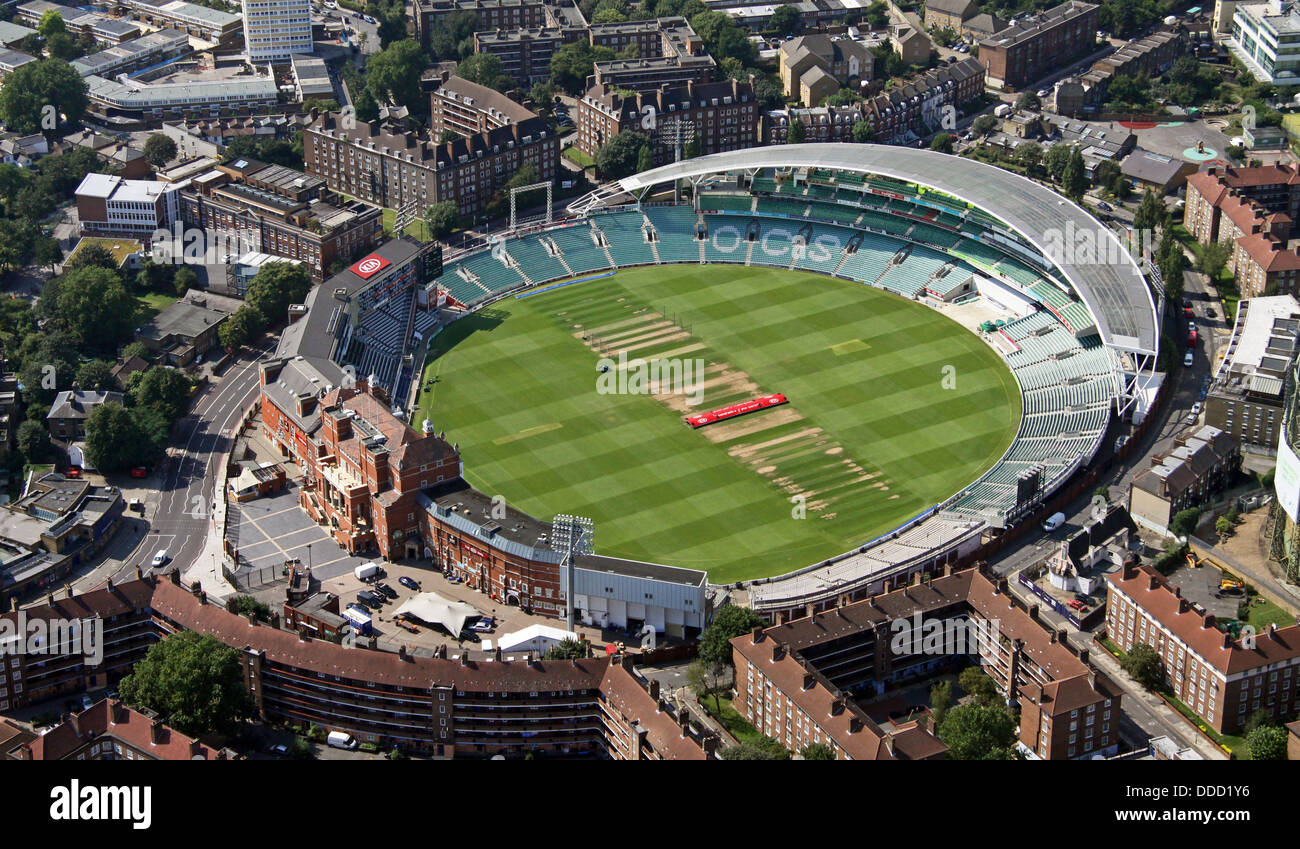 aerial view of The Oval Cricket Ground in Kennington, London SE17 - Stock Image