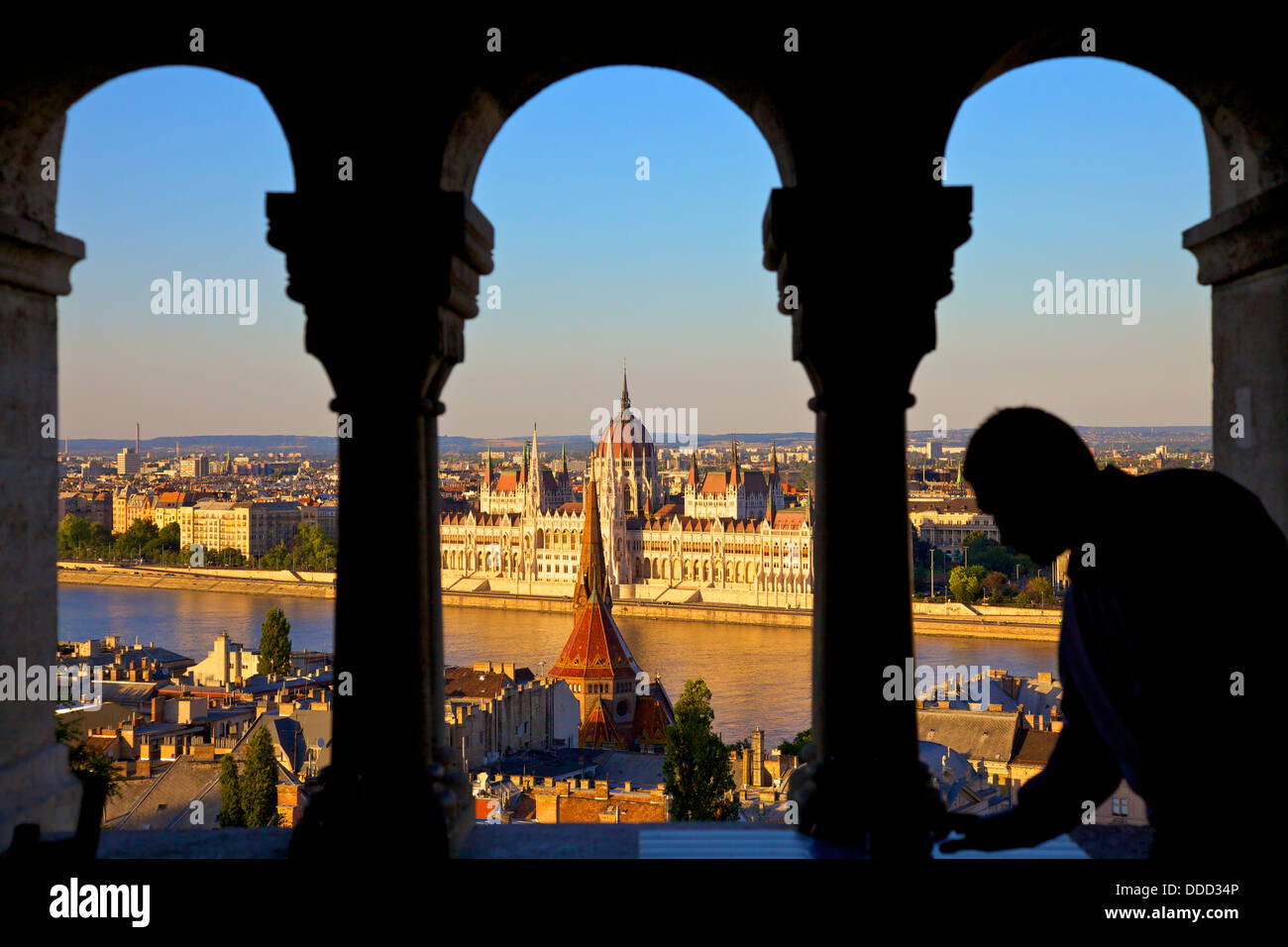 Waiter at Cafe, Fisherman's Bastion, Budapest, Hungary, Europe - Stock Image