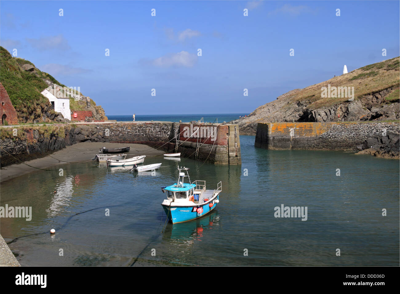 Porthgain harbour and Pilot's Cottage, Pembrokeshire, Wales, Great Britain, United Kingdom, UK, Europe - Stock Image