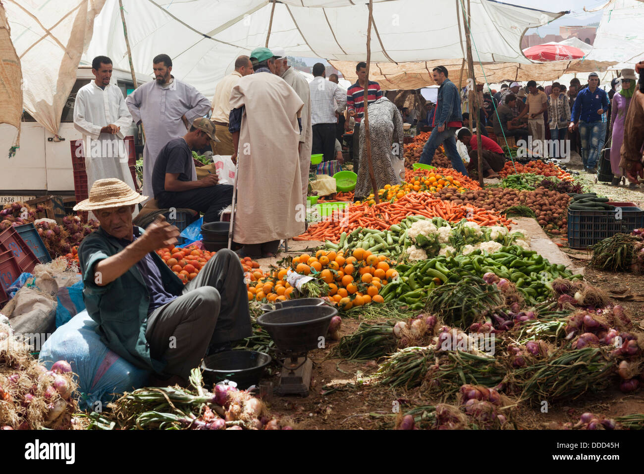 Monday Berber market in Tnine Ourika, Atlas Mountains, Morocco, North Africa - Stock Image