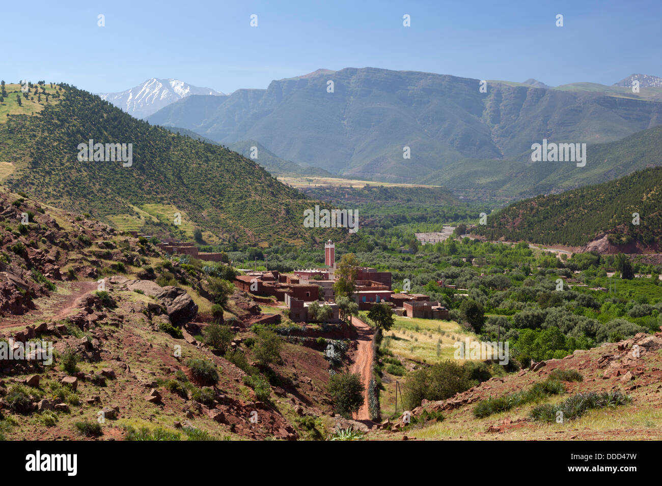 Berber village in the Ourika Valley - Stock Image