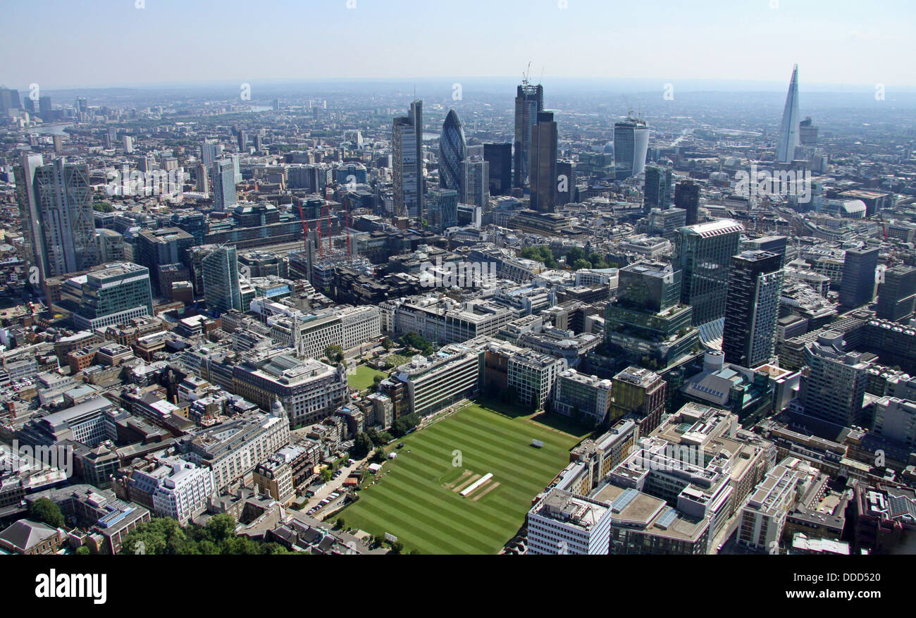 aerial view of the HAC, Honourable Artillery Company, playing fields cricket ground central London, EC2 with the - Stock Image
