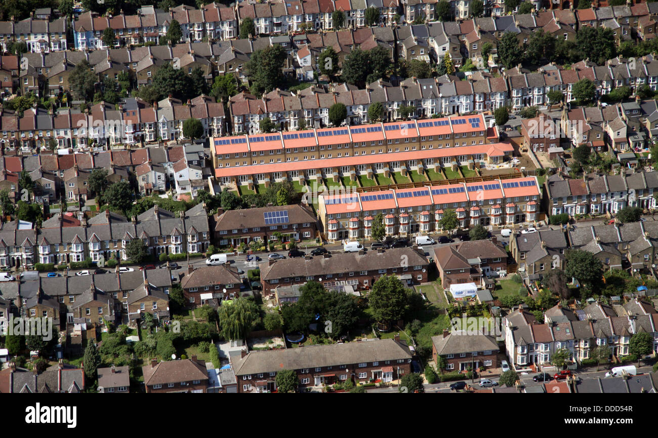 aerial view of brand new housing with solar panels in London - Stock Image