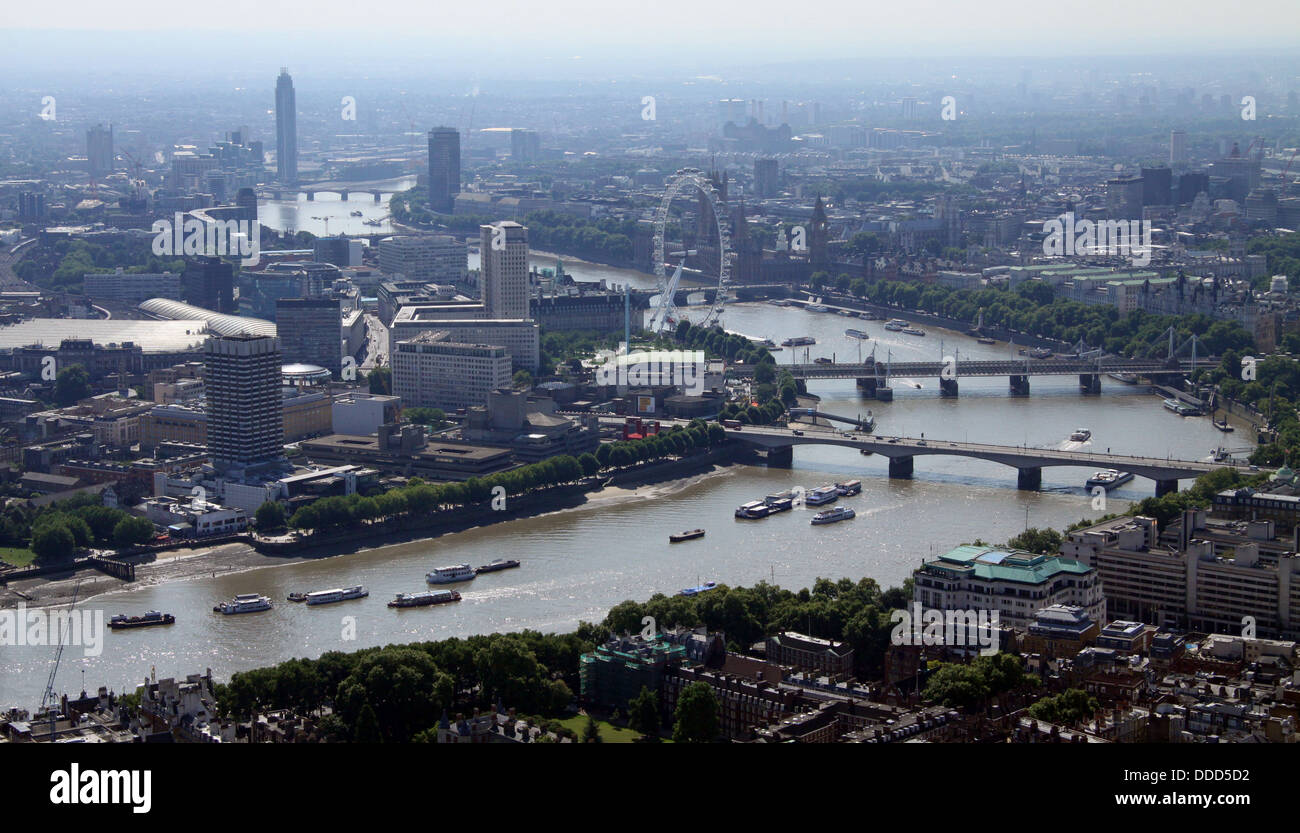 aerial view of the River Thames in central London - Stock Image