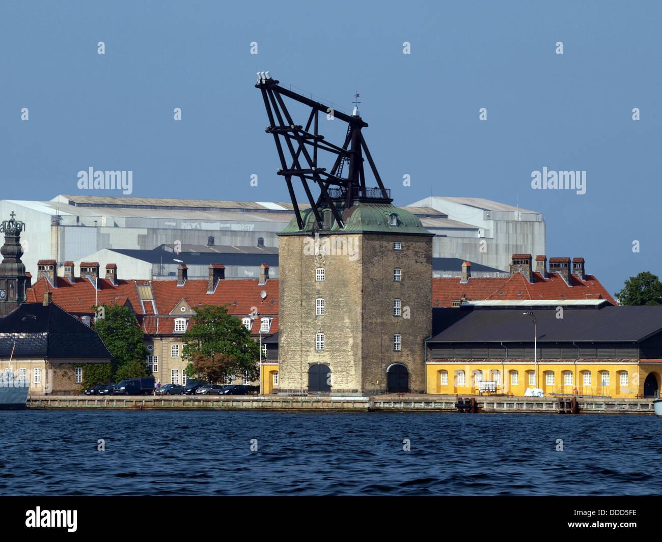1742 build crane, used for mounting masts to large sailing vessels. Copenhagen, Denmark, Mastekranen, Holmen. Copenhagen, Stock Photo