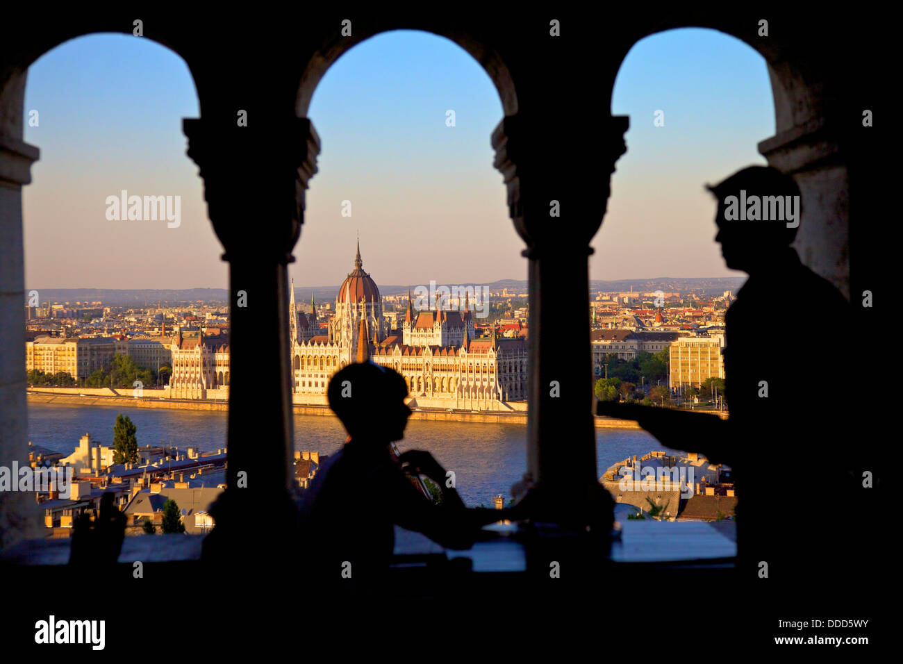 Waiter and Customer at Cafe, Fisherman's Bastion, Budapest, Hungary - Stock Image