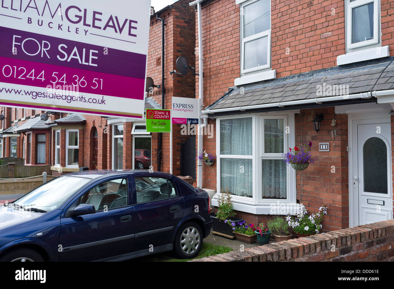 Two Red Brick Row Houses For Sale In Buckley, Flintshire, North Wales, UK