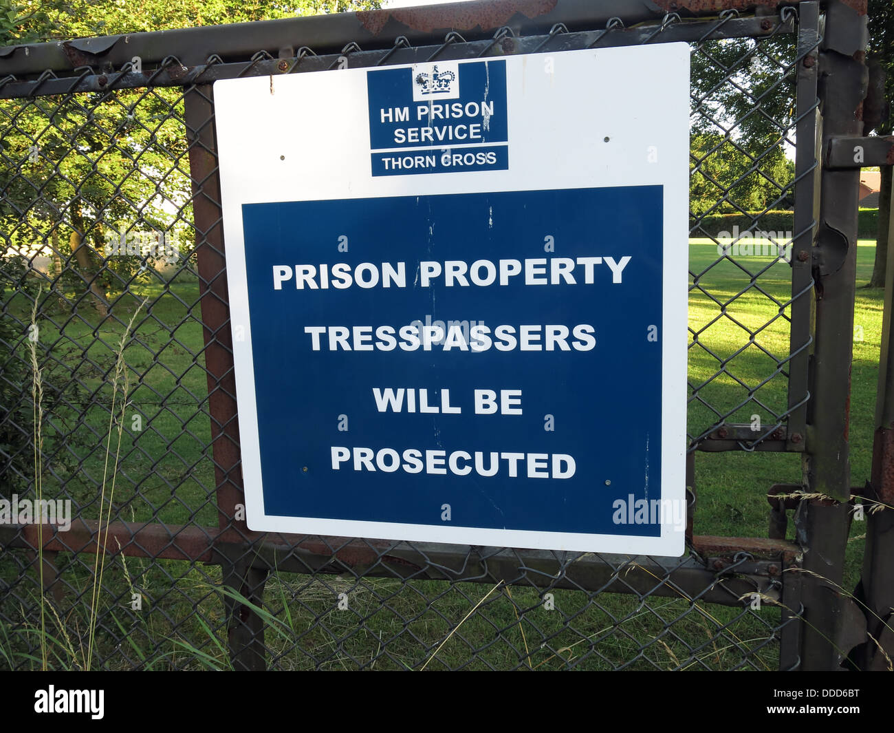 Sign on grounds of HM Prison Thorn Cross YOI Young Offenders Institute, Appleton Thorn, Warrington, Cheshire, England, - Stock Image