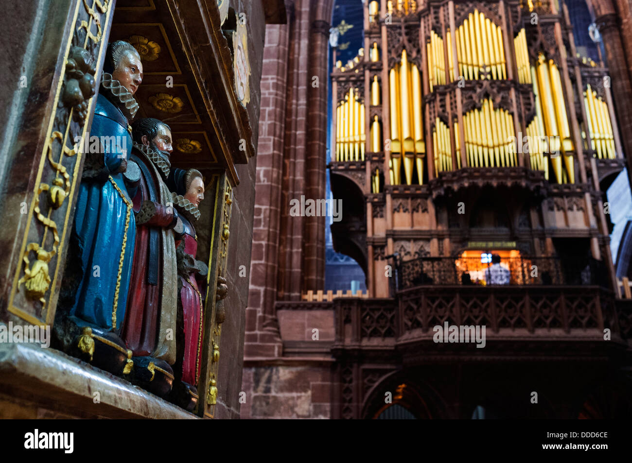 Chester cathedral monument to the wives of Thomas Greene, a mayor of the city in 1565, Cheshire, England, UK - Stock Image
