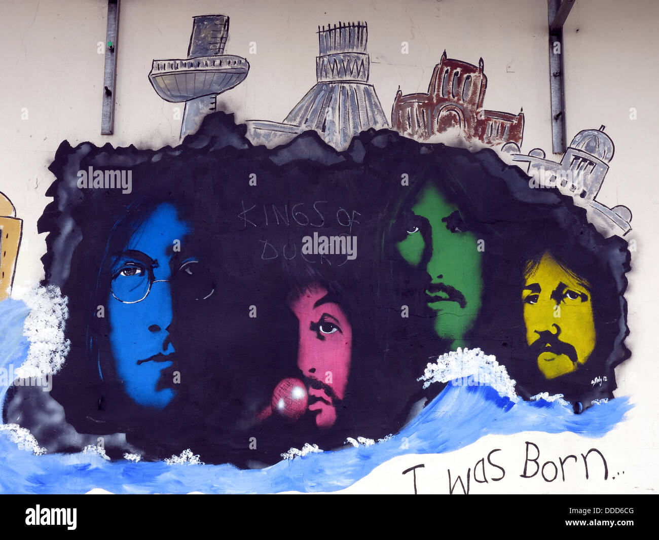 Paisley Street Beatles Liverpool art work mural, Liverpool docklands, Merseyside, North West England, UK - Stock Image