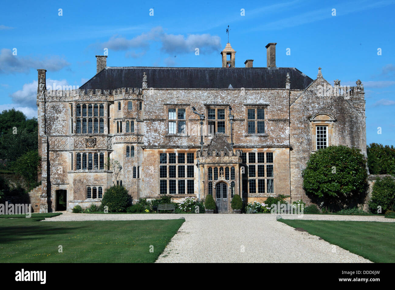 Brympton d'Evercy manor house, including St Andrews Church, near Yeovil, Somerset, South West England, UK - Stock Image