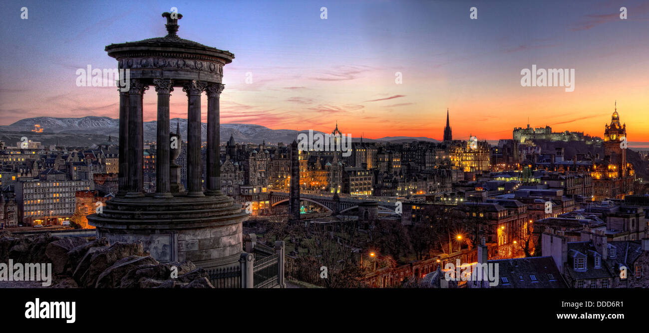Panoramic view over Edinburgh city centre , capital of Scotland at Sunset, from Calton Hill Stock Photo