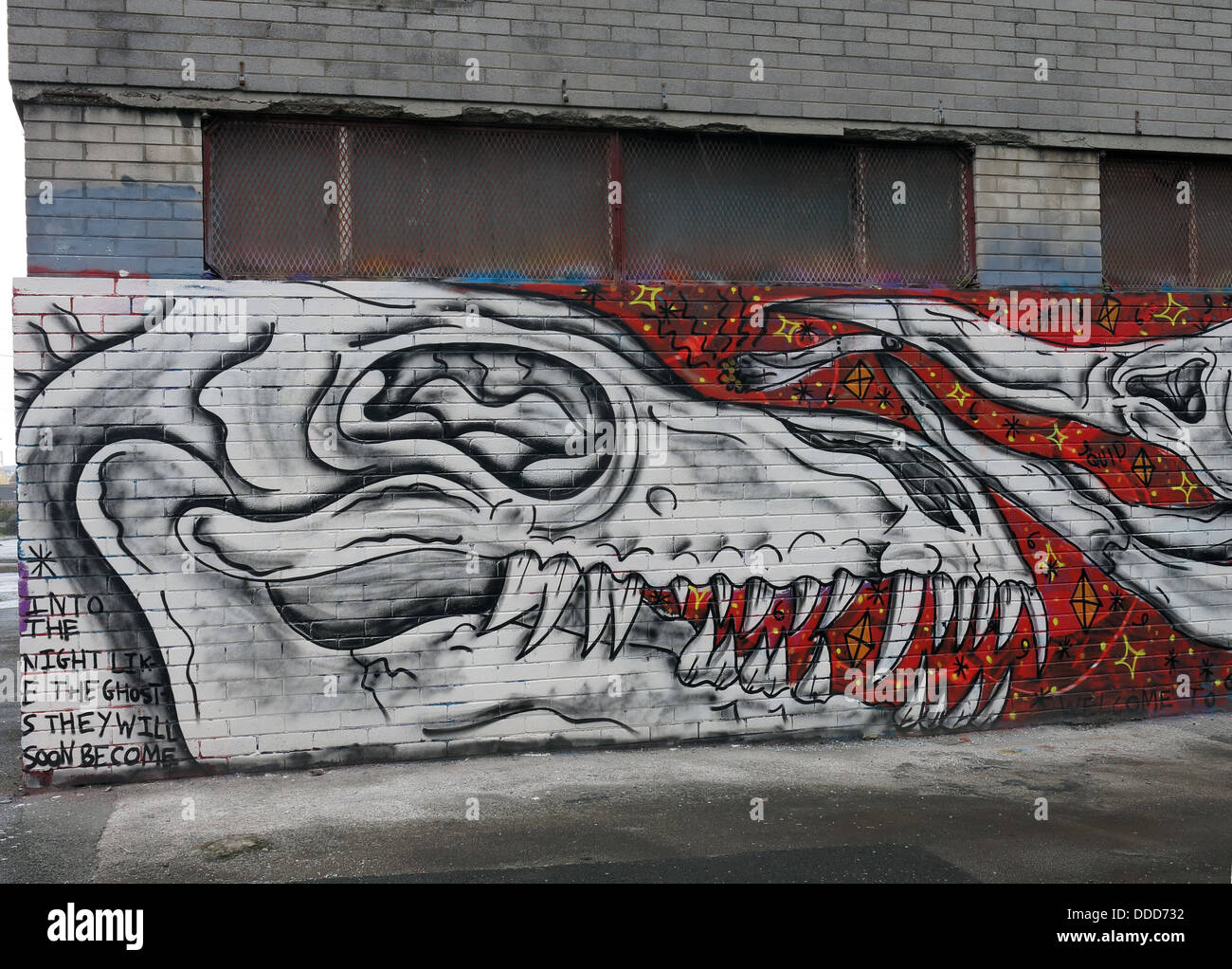 Graffiti on empty office buildings, Upper Parliament Street, Liverpool, Merseyside, North West England, UK - Stock Image