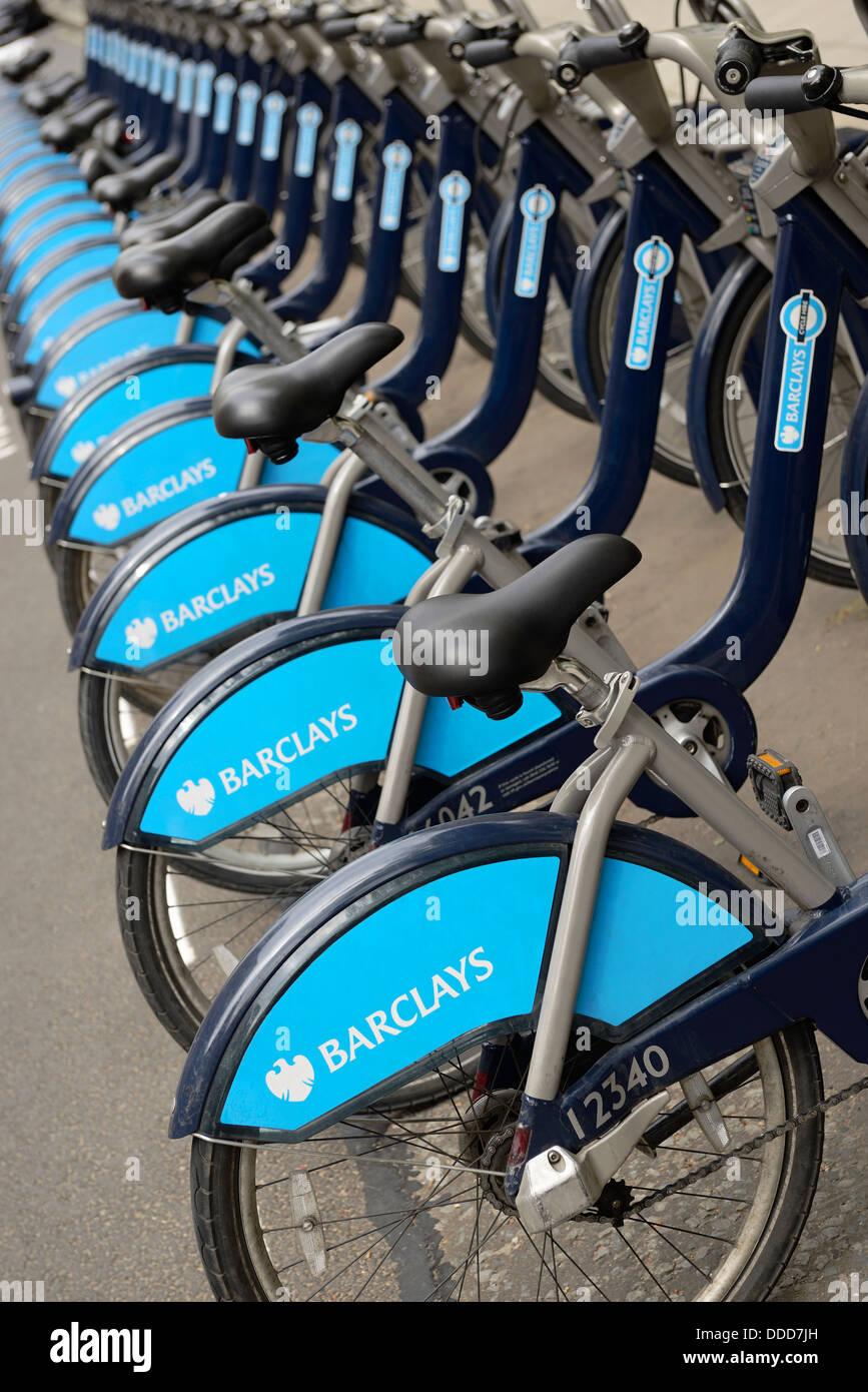Barclays Cycle Hire Boris Bikes at a Docking Station, London, England, UK. - Stock Image