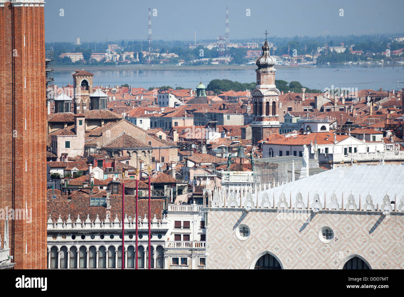 In the north of St Mark's Square, the roofs of Venice with a view on the suburbs of Mestre in the background - Stock Image