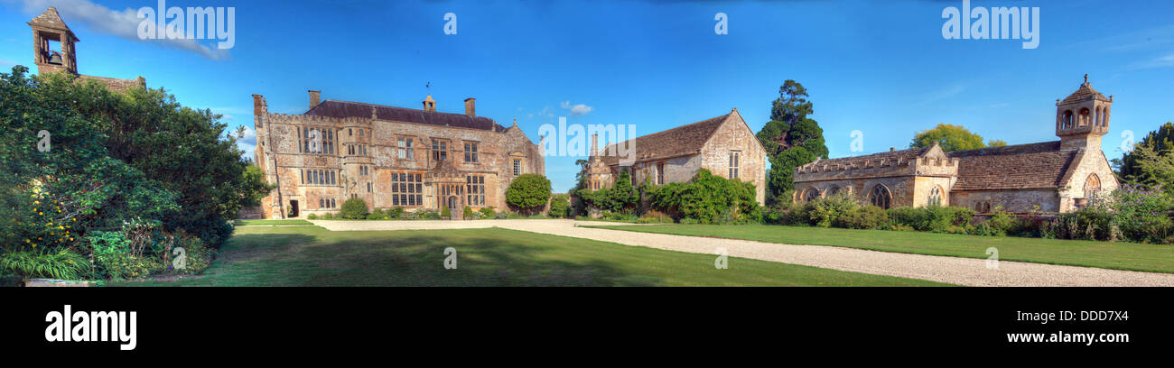 Brympton d'Evercy manor house panorama, including St Andrews Church, near Yeovil, Somerset, South West England, - Stock Image