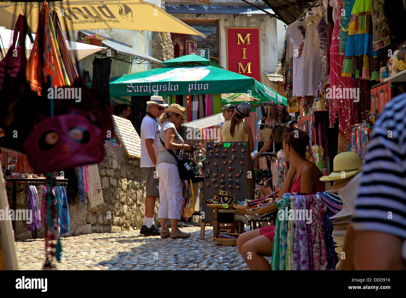 Tourists Shopping, Mostar, Bosnia, Bosnia-Herzegovina, Balkans, South Eastern Europe - Stock Image