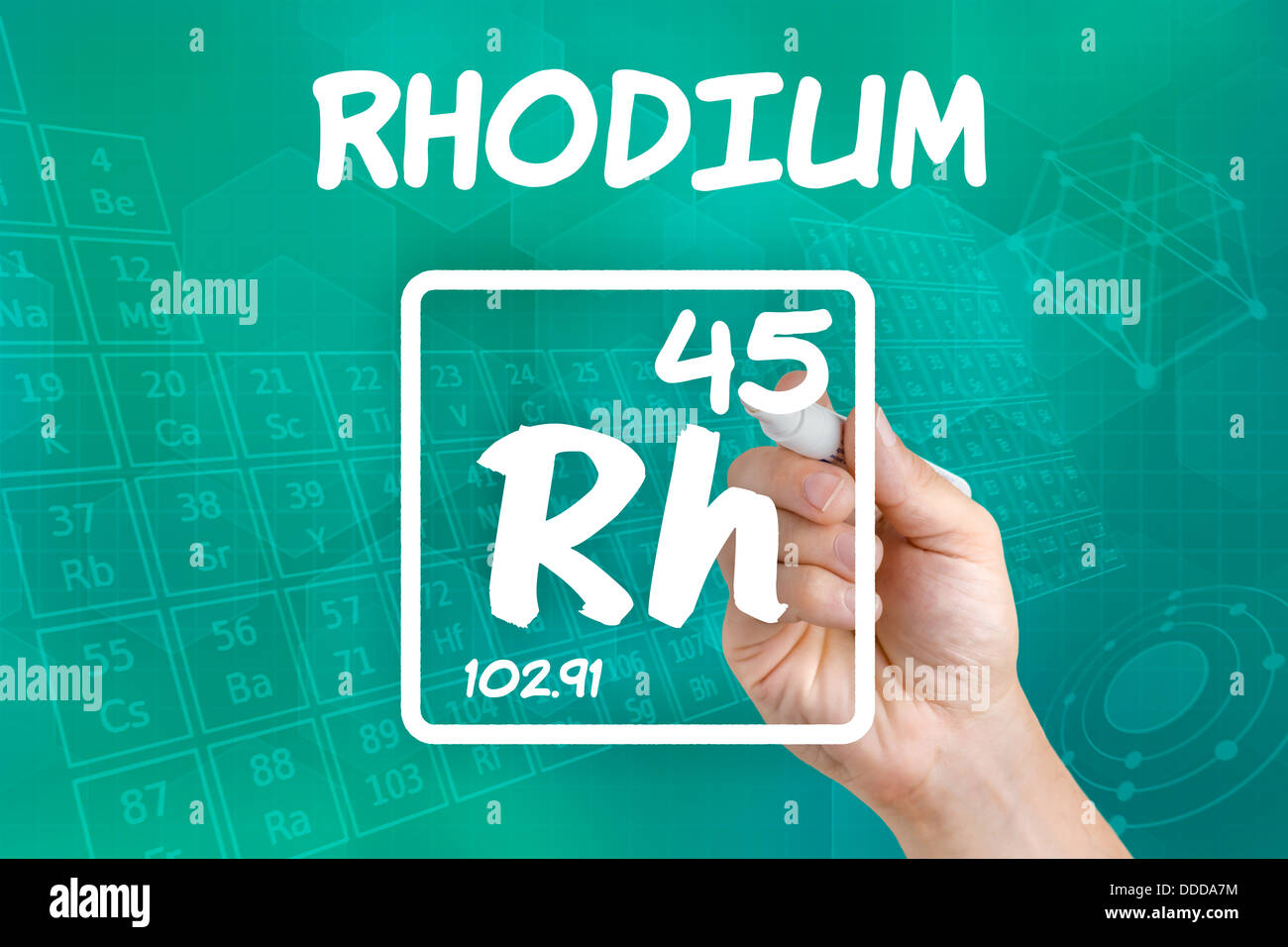 Symbol For The Chemical Element Rhodium Stock Photo 59915064 Alamy