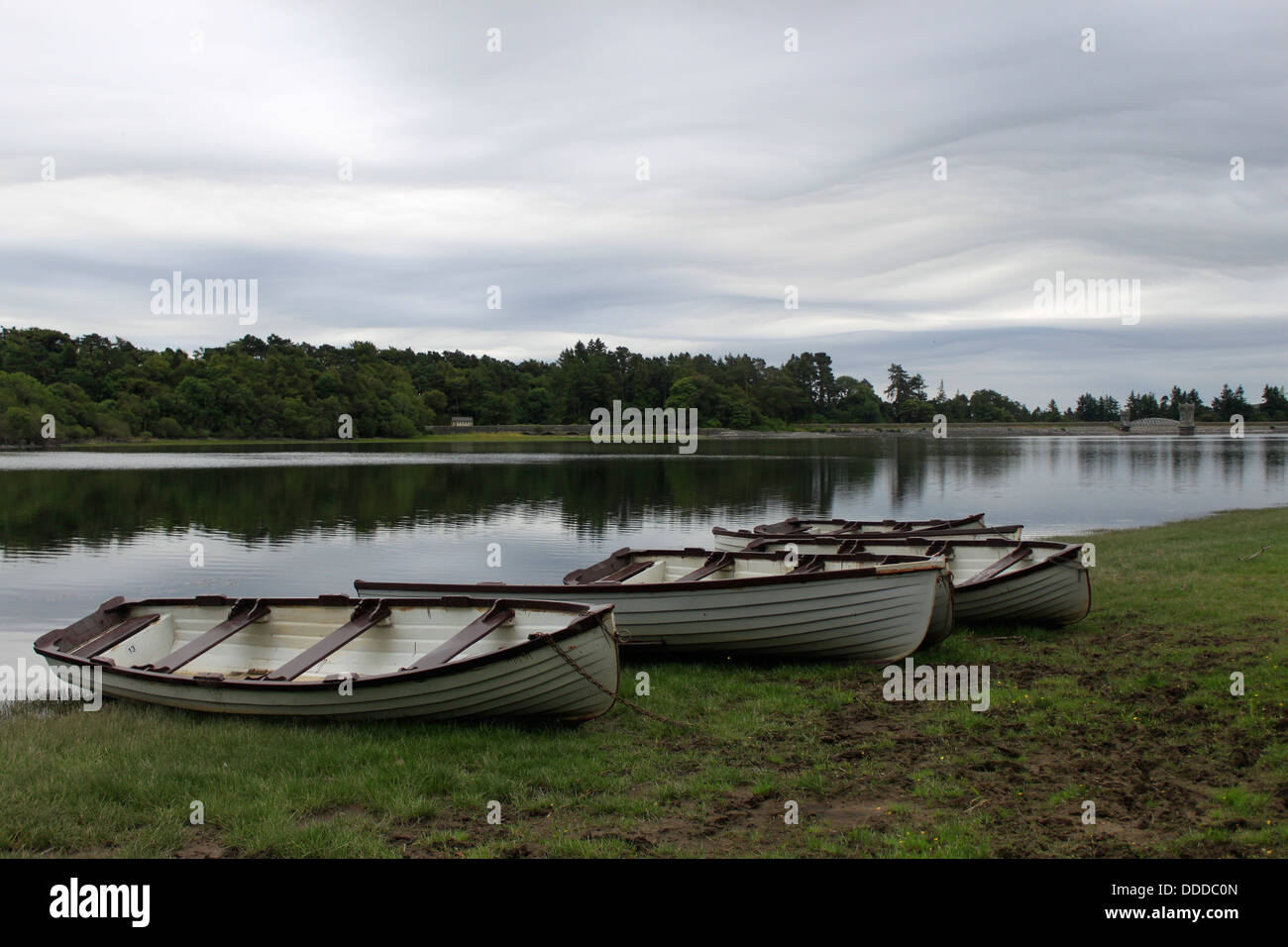 Boats on River Bank, Wicklow, Ireland - Stock Image