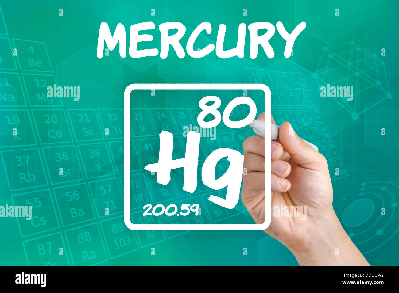 Symbol For The Chemical Element Mercury Stock Photo 59917118 Alamy