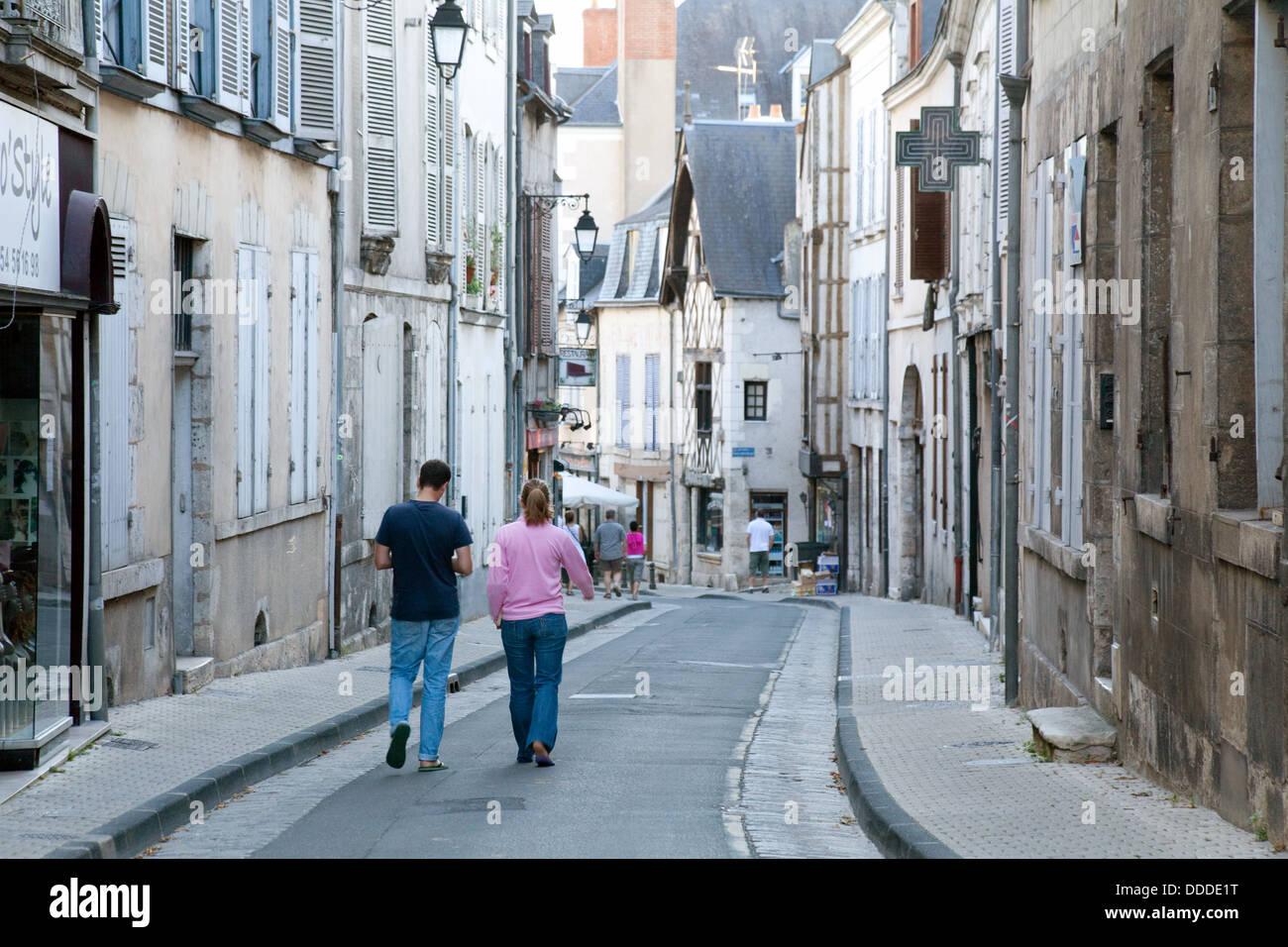 Street scene, in the French town of Blois, Loir-et-Cher, Loire Vally, France Europe - Stock Image