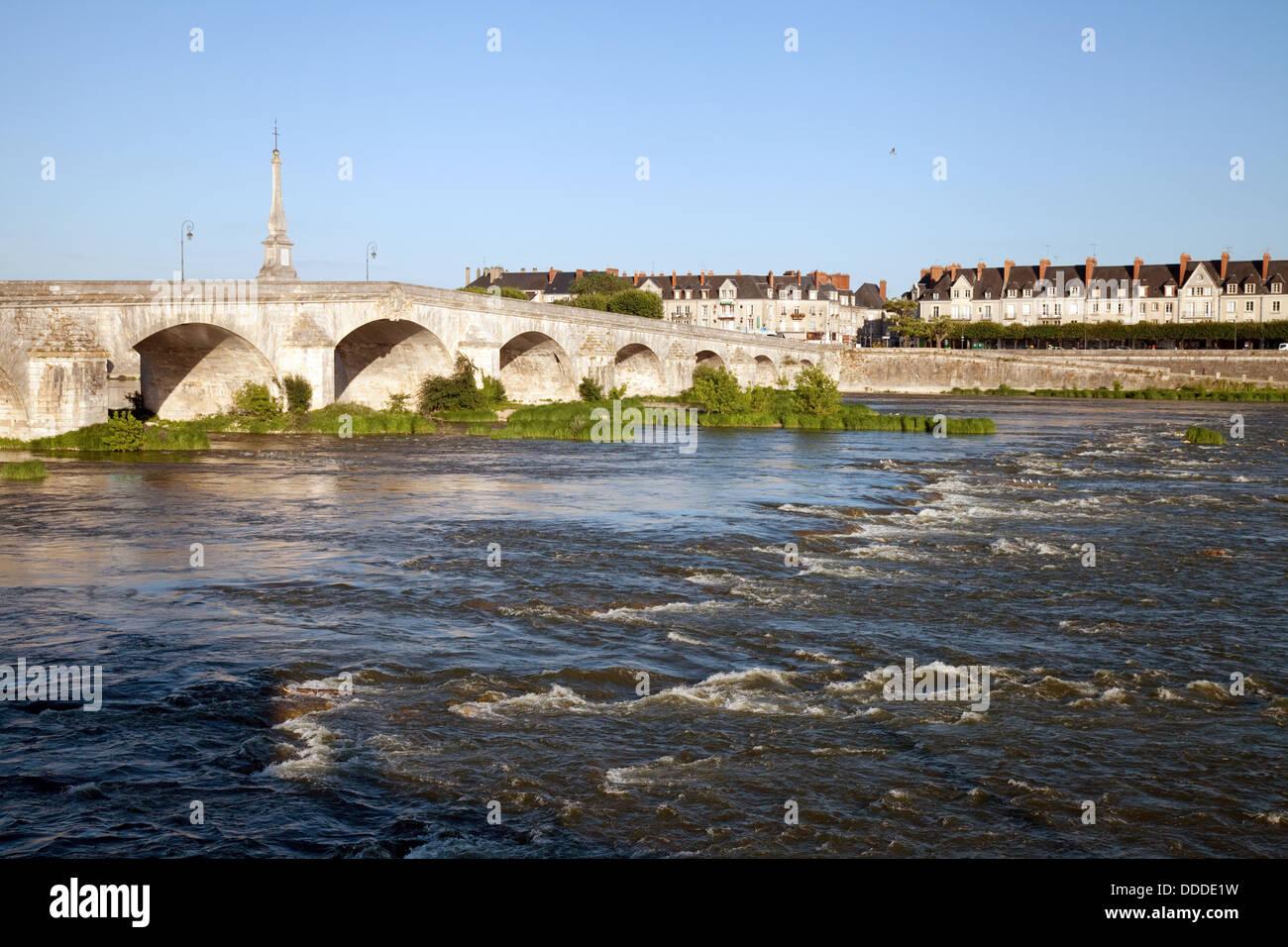 The 18th century bridge over the River Loire at Blois, Loire-et-Cher, France Europe - Stock Image