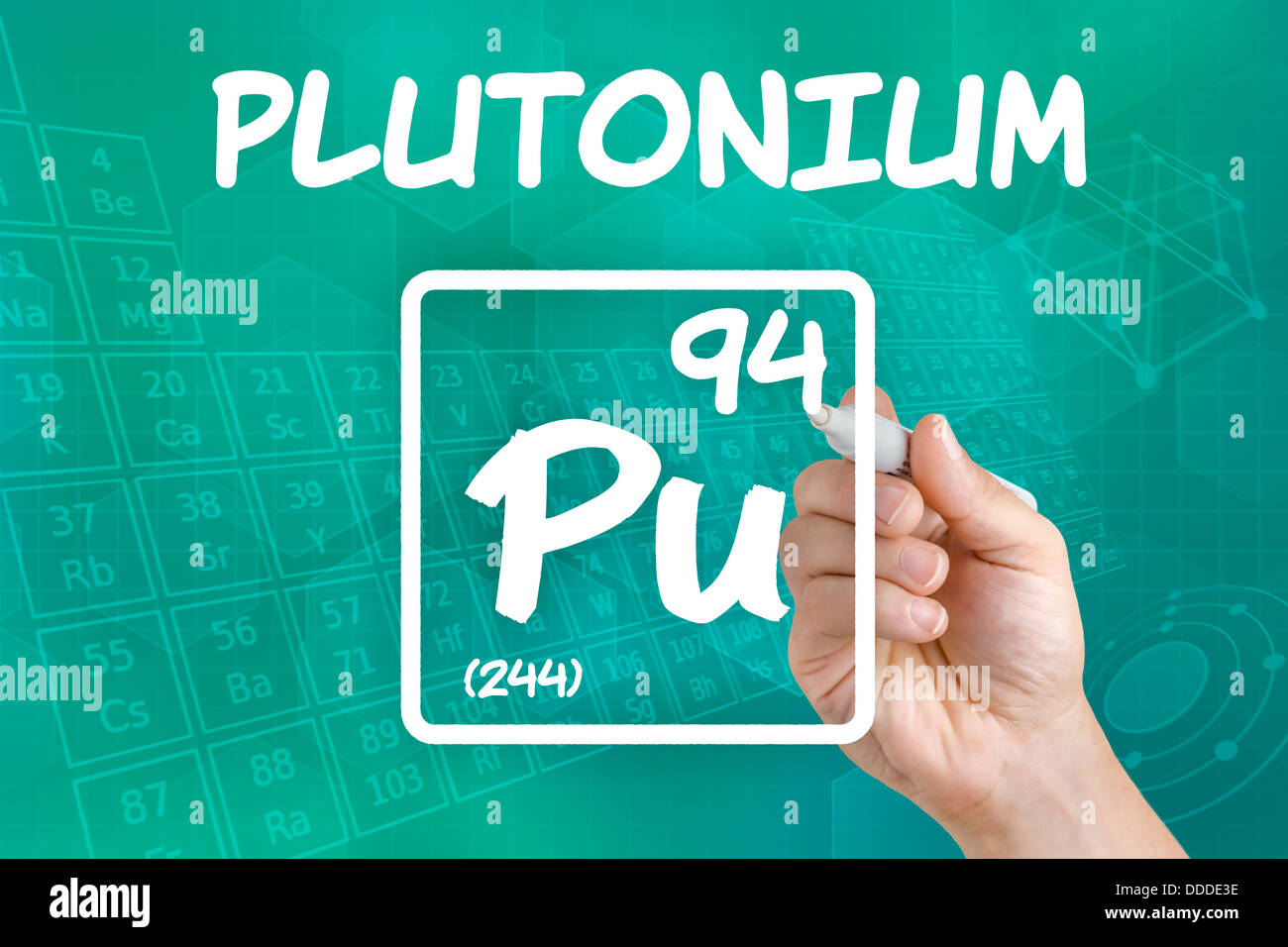 Symbol for the chemical element plutonium - Stock Image