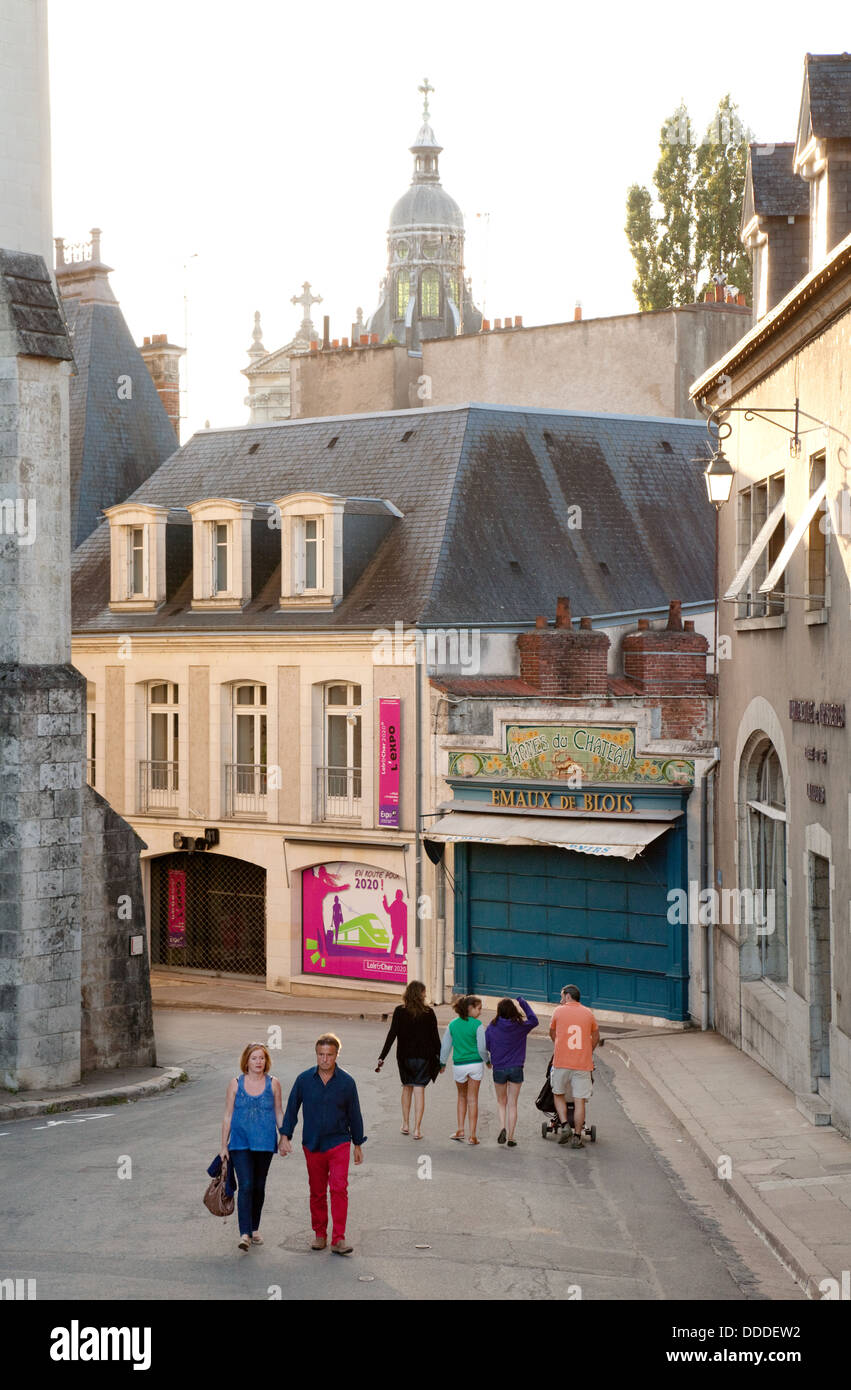 Street scene with people in the french town of Blois, Loir-et-Cher, loire valley, France europe - Stock Image