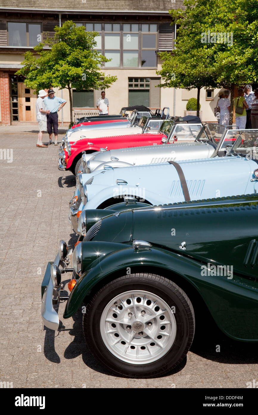 Morgan sports cars on show at an owners club rally, Lambourn, Berkshire UK - Stock Image
