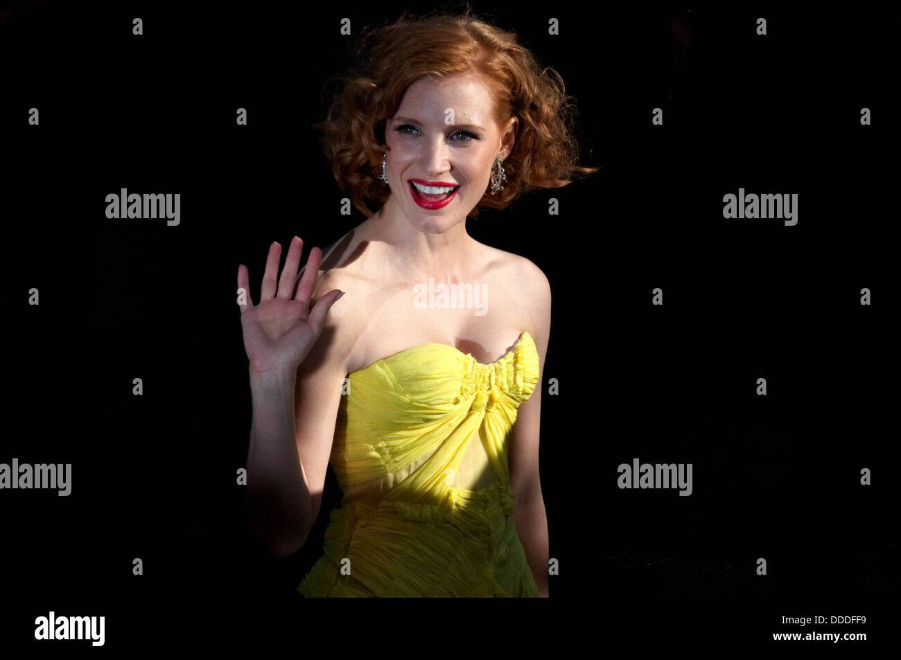 Europe, France, Cannes. American actress Jessica Chastain, before the red carpet to present the movie director Terrence - Stock Image