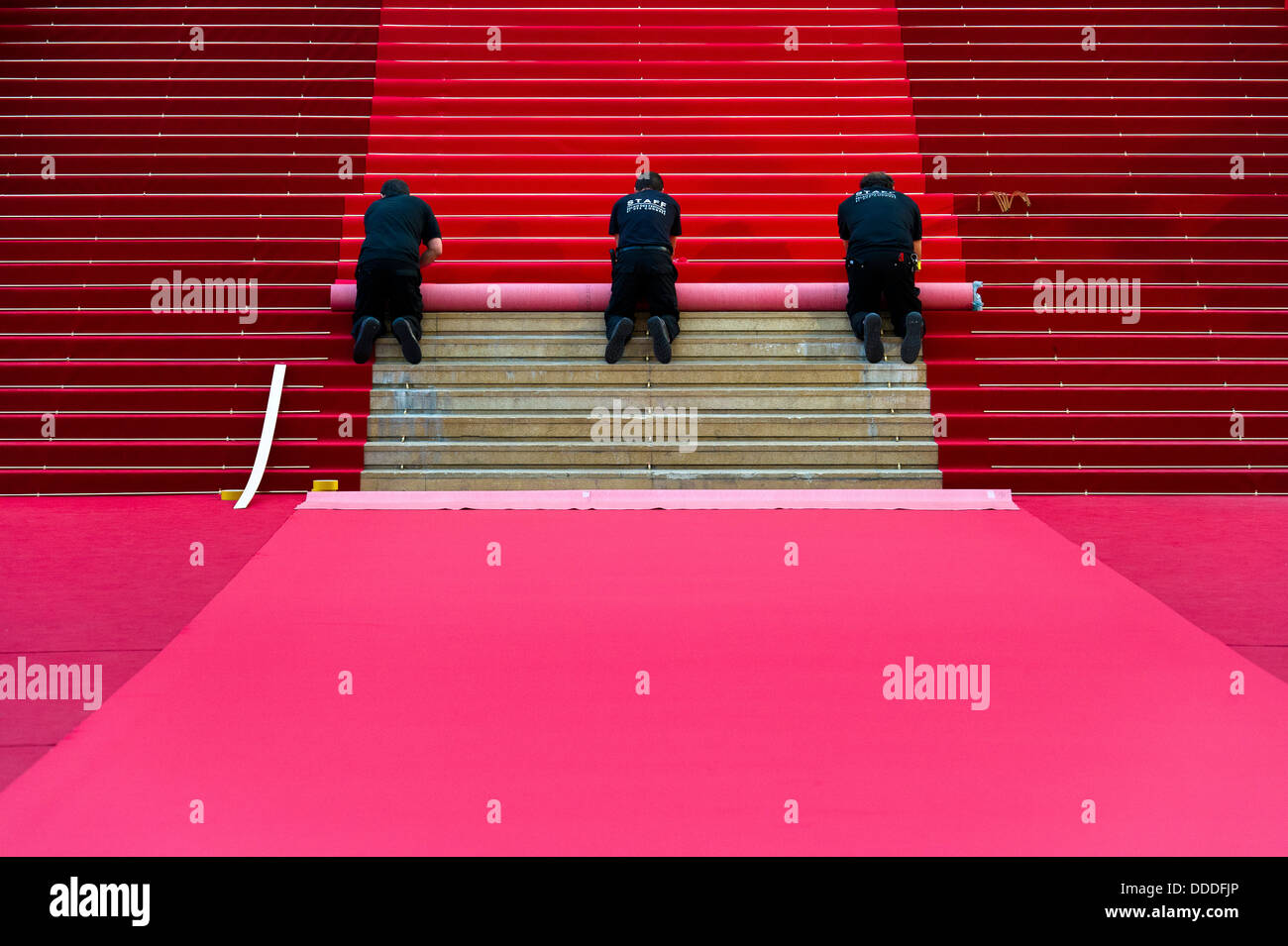 Europe, France, Alpes-Maritimes, Cannes film festival, carpet installation for red carpet. - Stock Image