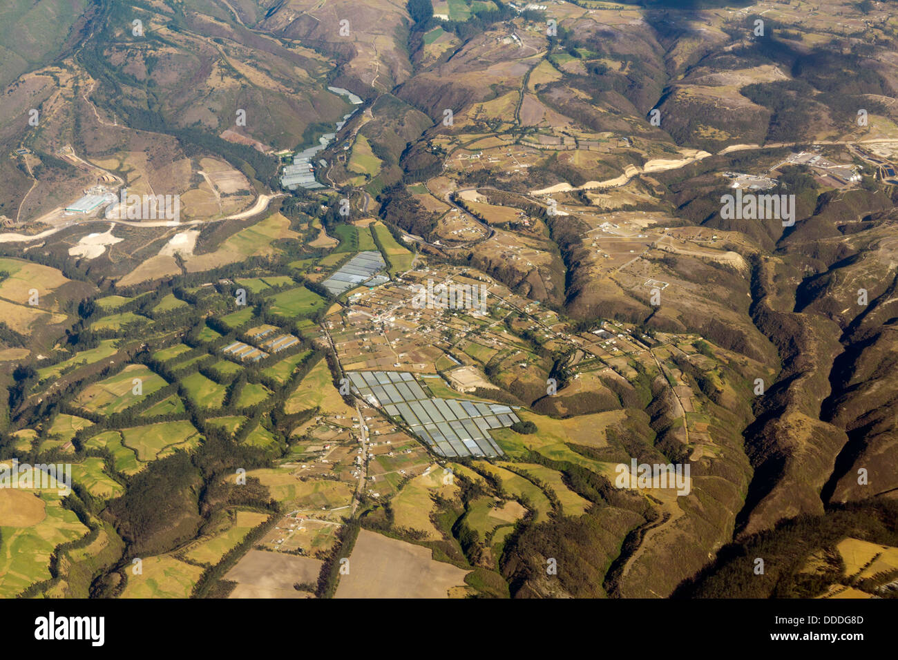Aerial view of Cayambe in the Ecuadorian Andes showing greenhouses used for rose cultivation - Stock Image
