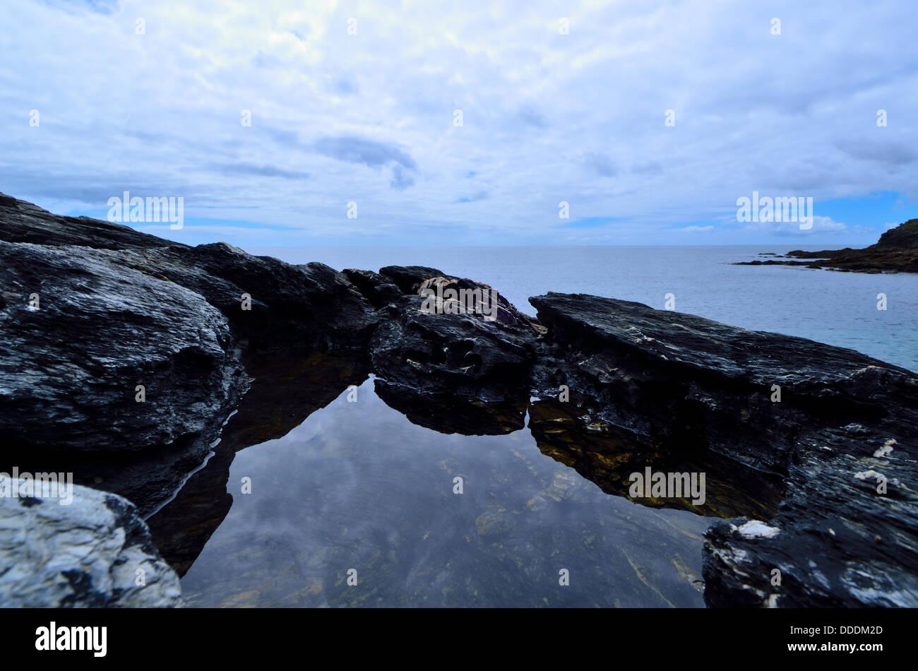 Prussia Cove Cornwall Marazion Penzance Rocks and Seascape - Stock Image