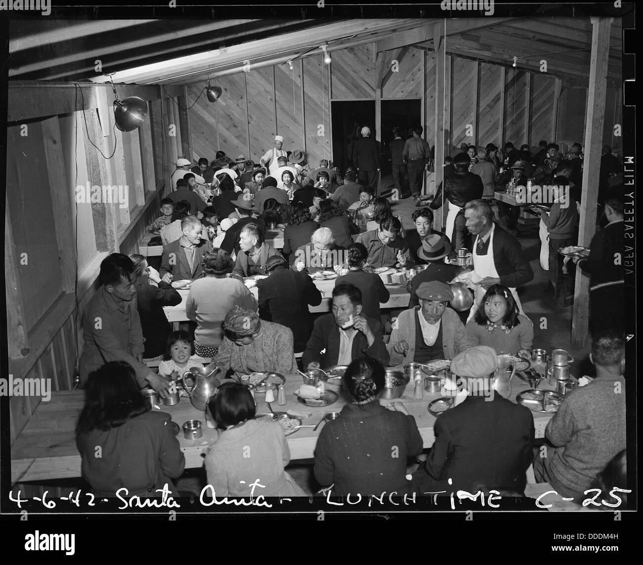 Arcadia, California. Lunch time cafeteria style, at the Santa Anita Assembly center where many thou . . . 537404 - Stock Image