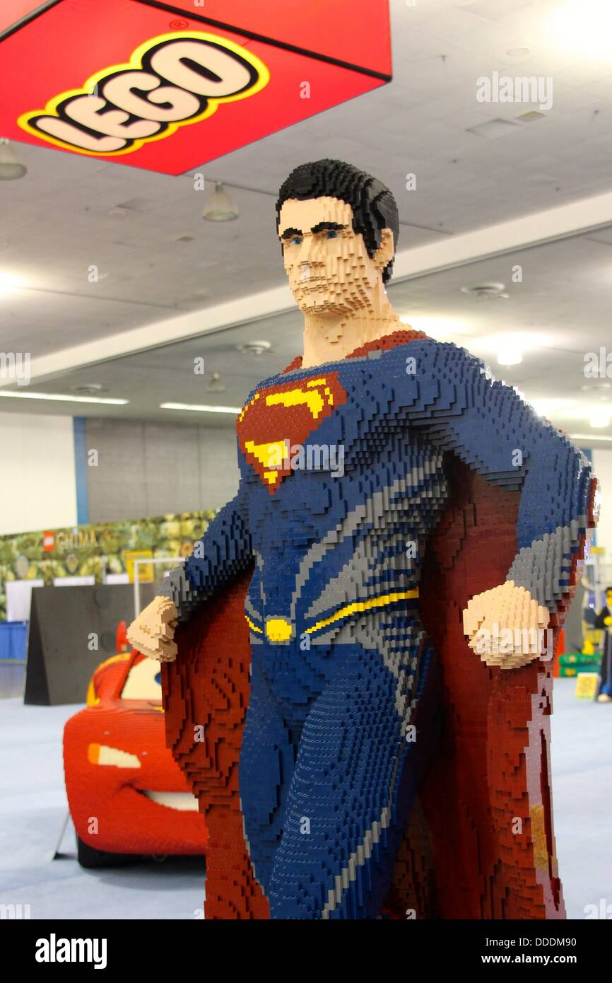 Superman from DC Comics at a LEGO convention. - Stock Image