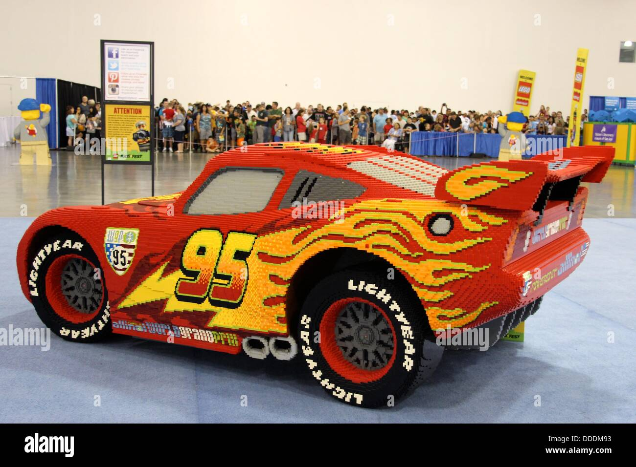Lightning Mcqueen From Disney Pixar Cars Is Made From 360 000 Lego Stock Photo Alamy