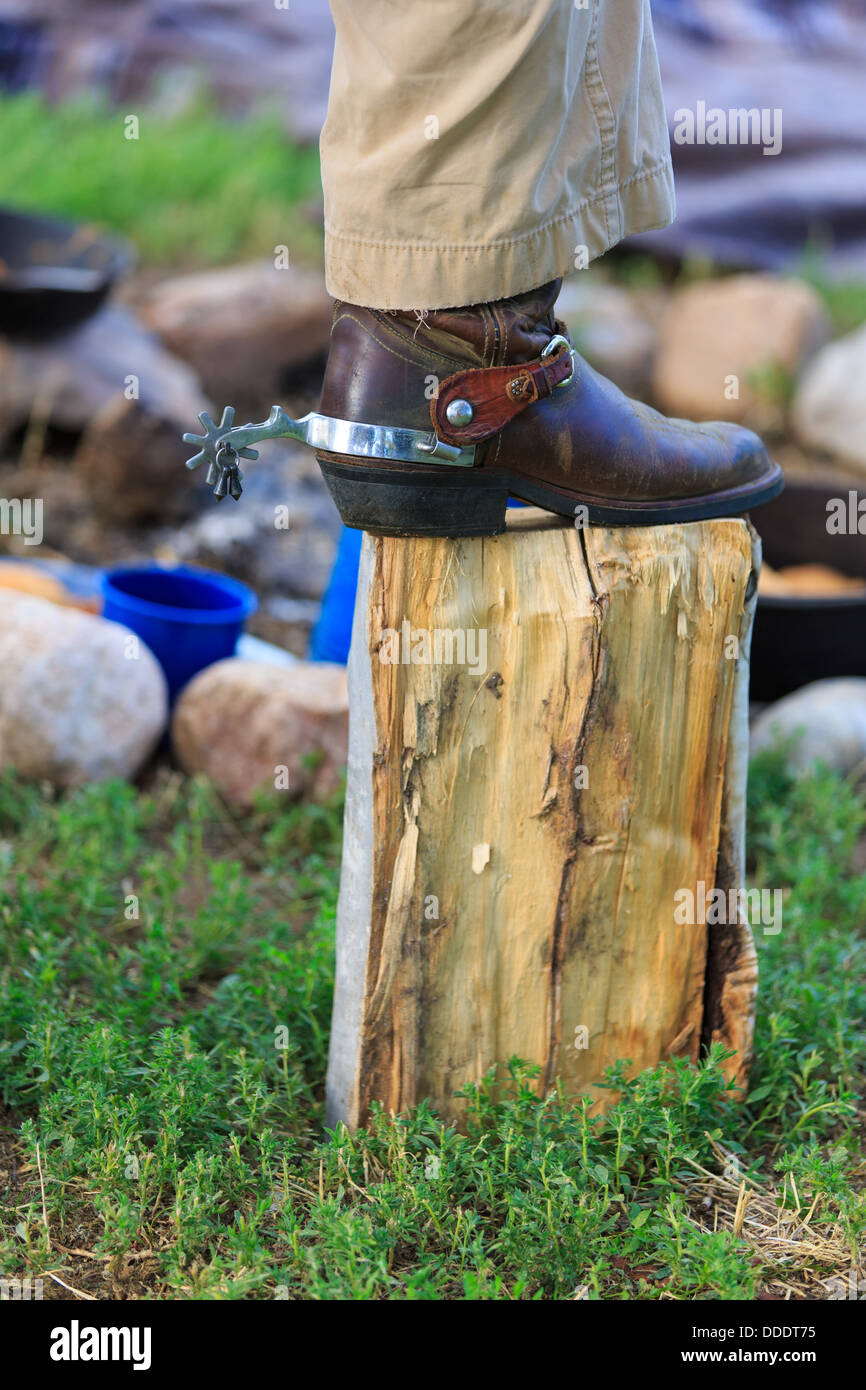 Spurs on a cowboy's boots - Stock Image