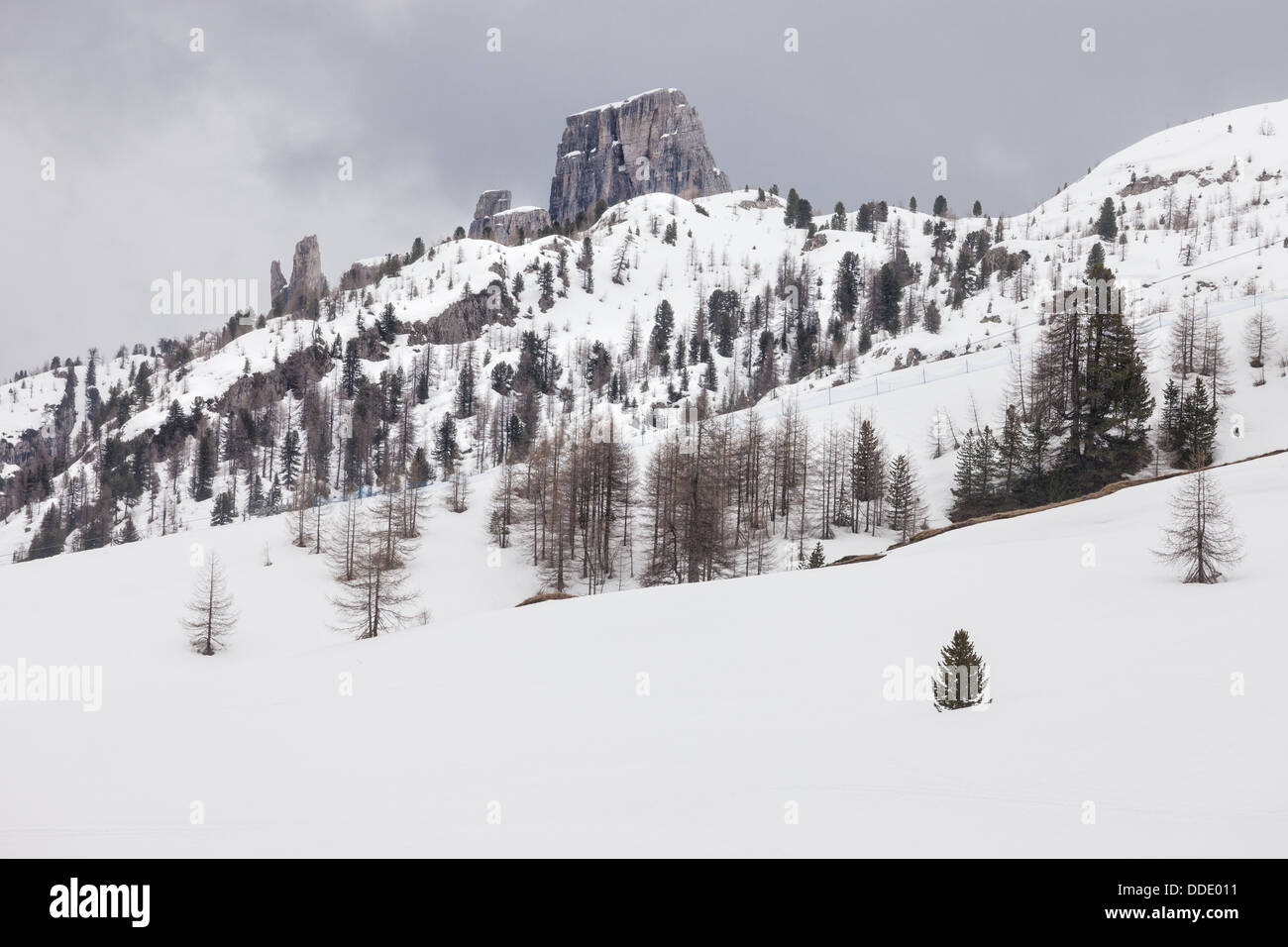Cloudy spring weather in Dolomites mountains. Italian Dolomites - Stock Image