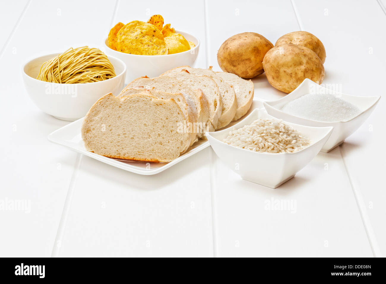 Glycemic Index High GI Foods - some of the foods which are high in the glycemic index. - Stock Image
